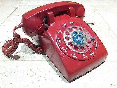 Bell Western Electric Rotary Dial Cherry Red Phone Vintage Desk Telephone F-18