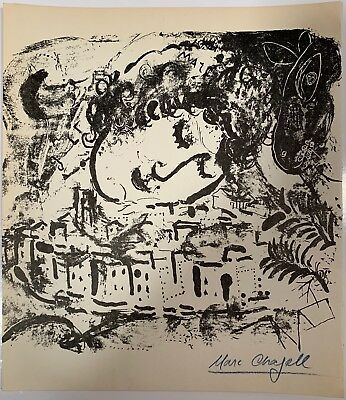 "Listed Artist Marc Chagall (1887-1985) ""Le Village"" Hand Signed Lithograph c1957"