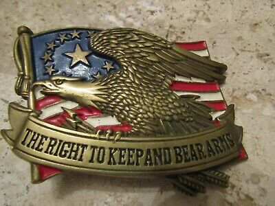 """Vintage 1982 Solid Brass """"The Right To Bear Arms"""" Eagle/Flag Belt Buckle"""