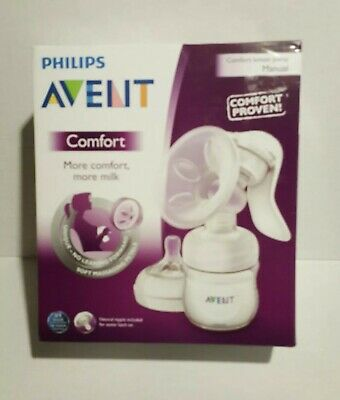 New Philips Avent Comfort Natural Manual Breast Pump With 4 oz Bottle