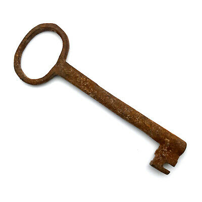One LARGE Vintage Skeleton Key Old Rusty Iron Antique Prison Jail Cell Key LK08