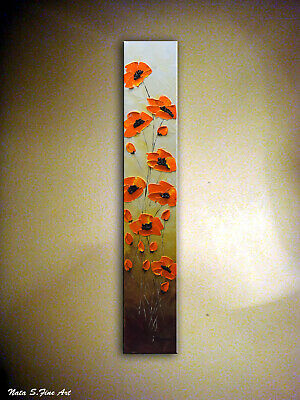 Abstract Orange Poppy Painting Palette Knife Art Original Vertical Wall Decor