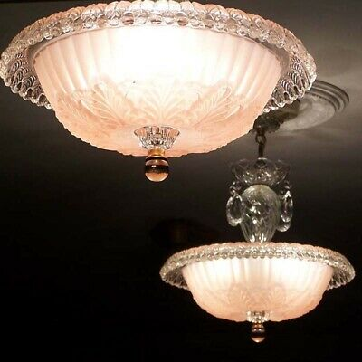504 Vintage antique 40s Ceiling Light Lamp Fixture Glass Chandelier pink