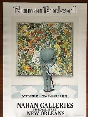 "HTF Norman Rockwell ""The Connoisseur"" Limited Ed. Collotype Print Modernist MCM"