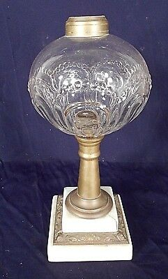 ANTIQUE VICTORIAN 19th CENTURY BULLSEYE GLASS OIL LAMP ON STEPPED BASE