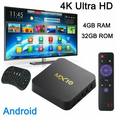 2019 Latest MX10 4+32GB Android 8.1 Wifi TV BOX KODI Quad Core Media Player TOP