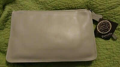 NWT Dorcelle Vintage Ivory 9.5 x 13.5 Zip Document Holder Clutch Planner RARE