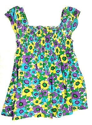 Mini Boden Girls Blue/Purple/Yellow Smocked Floral Dress Size 7-8 Years