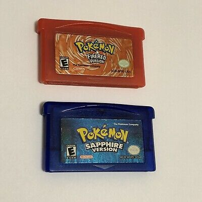 Pokemon Fire Red & Sapphire Versions Nintendo Game Boy Advance GBA AUTHENTIC