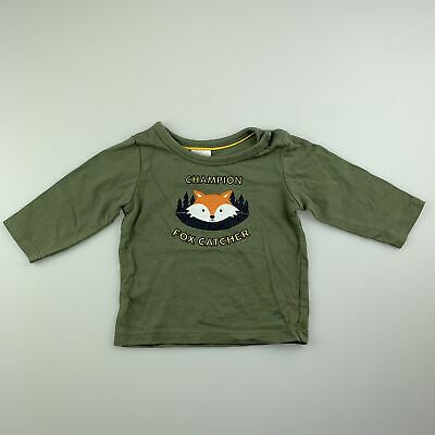 Boys size 000, Target, green cotton long sleeve t-shirt / tee, fox, GUC