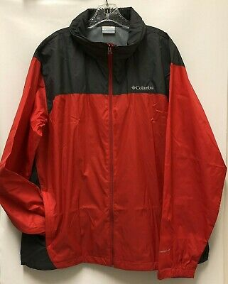 Columbia Sportswear Mens XL Red Gray Packable Raincoat Lightweight Jacket