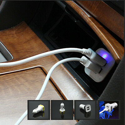 Car Universal Twin Port USB 12V Charger Socket Cigarette Lighter Power Adapter
