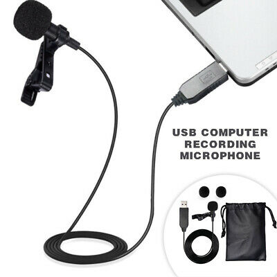 Mini Clip On Lavalier Lapel Omnidirectional USB Microphone Mic For Computer PC