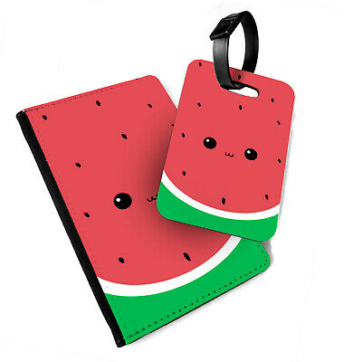 Watermelon Face - Printed Passport Cover & Luggage Tag - Fruit Cute Eyes Funny