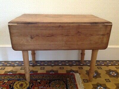 Victorian Antique Dropped Leaf Pine Table