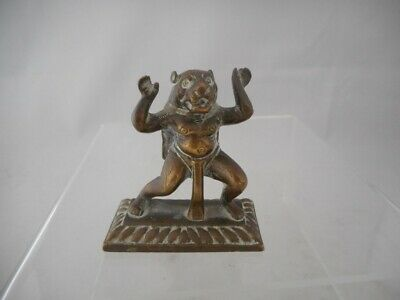 Antique 19th/ 20th Century Asian Indian Bronze Brass Small Lion Figure Deity