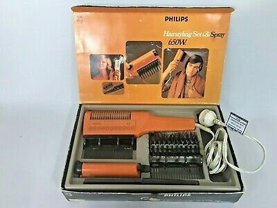 Vintage Phillips 650w ORANGE Hairdryer Hairstyling Set and Spray Working Boxed