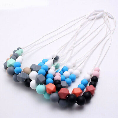 Food Grade Silicone Round Beads Baby Sensory Teething Necklace Pendant Jewelry