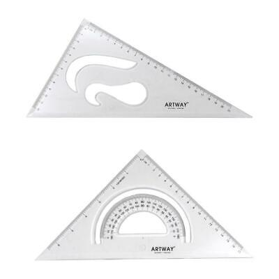 Artway Plastic Set Square Pack (2) - 45 & 60 Degree angles