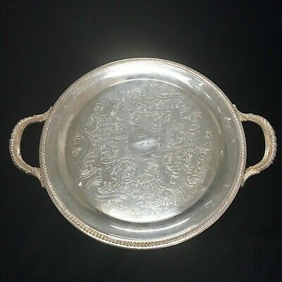 Vintage FB Rogers EPNS Silver Plated Service Tray Round Plate Charger Platter
