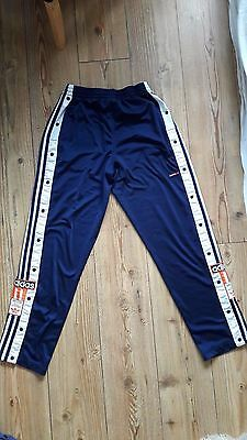 Retro Vintage Adidas Poppers D5 /174 / 32 navy blue Trousers / Bottoms 80/90s