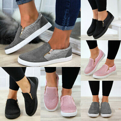Womens Casual Sneakers Ladies Slip On Diamante Zip Trainers Pumps Shoes Size 4-7