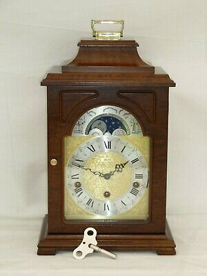 Hermle Walnut Triple 3 Tunes, Westminster Chime + Moonphase Mantle Bracket Clock