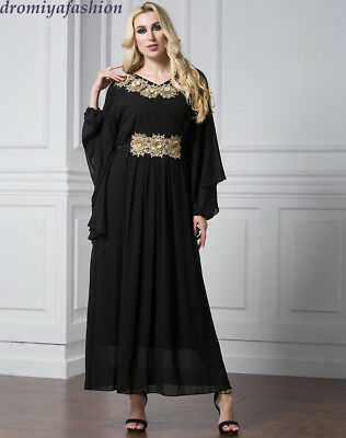 Mexico Floral Party Robe Women Vintage Dress Muslim LongSleeve Ethnic Abaya Gown