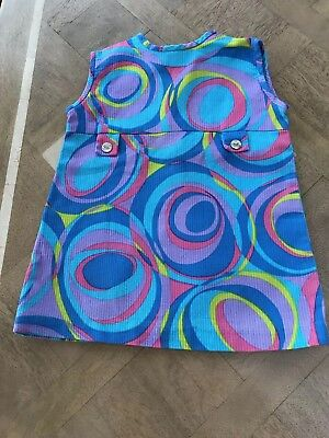 Vintage Late 1960s/1970s Baby Girls Psychedelic Mod GoGo Festival Dress 12/18 M