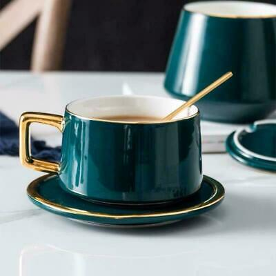 3 Piece Coffee Tea Cup And Saucer With Spoon Kitchen Ceramic Gift Tea Cup Set