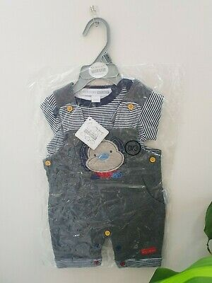 *Brand new with tags* Boys 2 piece dungaree set with top 0-3mths by Nursery Time