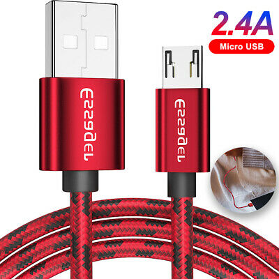 2.4A Micro USB Fast Charger Cable Braided Data Cord for Samsung Huawei Sony HTC