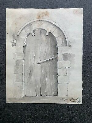 An Antique 18th/19th Century Drawing And Watercolor Architectural Door Study