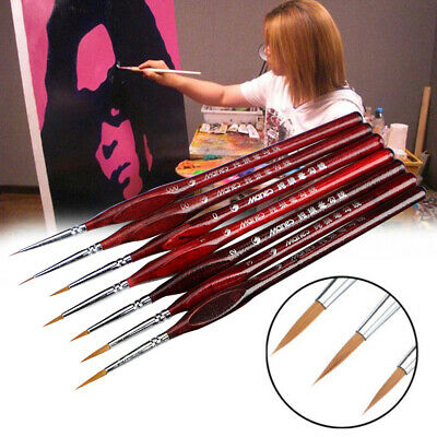 7pc Artist Paint Brush Set Fine Pointed Tip Detail Pure Bristle Painting Brushes