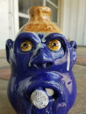 Cobalt with Dripping Golden Brown Glazed Face Jug by Billy Joe Craven