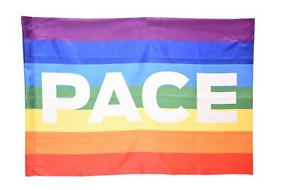BANDIERA DELLA PACE FLAG PEACE NO WAR MOVIMENTO PACIFISTA ARCOBALENO cm 90x150