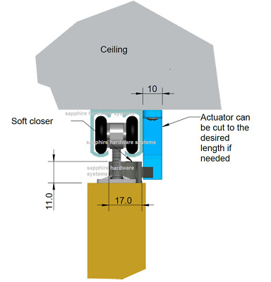 Soft Close For Straight Sliding Doors-Soffit / Top Fixing-Universal