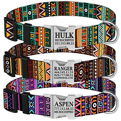 Personalized Nylon Dog Collar Engraved Buckle Pet Collars Adjustable S M L Dogs