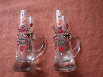 2 vintage floral glass posy holders