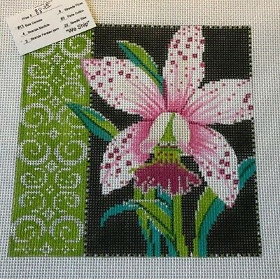 Orchid Handpainted Needlepoint Canvas