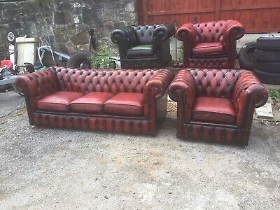 Vintage Chesterfield 3 Seater And Matching Club Chair Oxblood Red Real Leather