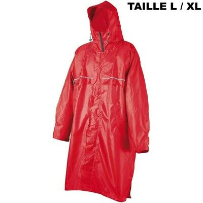 Poncho Camp Cagoule Front Zip rouge Taille L/XL