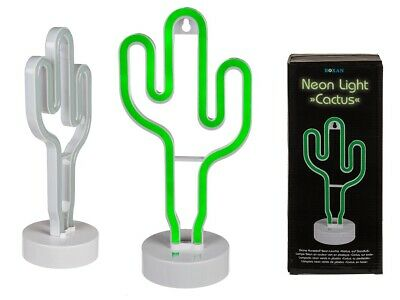 Neon Cactus night light/Sign battery operated on a white base brand new boxed