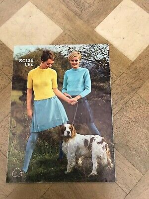 Vintage retro 60s mod TWIGGY Patons SC129 Sweater/Jumper knitting pattern