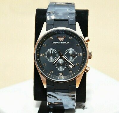 New Genuine Emporio Armani Ar5905 Rose Gold Silicone Mens Watch Rrp £350