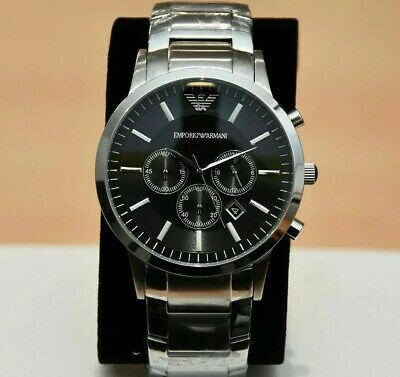 New Genuine Emporio Armani Mens Ar2460 Watch Black Dial Stainless Steel £319 Rrp