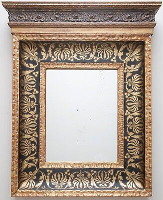 Antique Renaissance Style 19th Century Gilded and Sgraffito Tabernacle Mirror