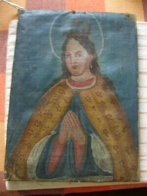 Late 1800S Retablo Painting On Canvas Our Lady Crowned Excellent Brushwork