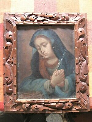 Late 1800'S Retablo Painting On Copper Our Lady Of Sorrows Excellent Brushwork
