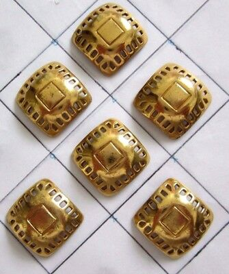 """6 Antique Vintage Pierced Brass Metal Sewing Buttons Gold Tone 15/16"""" size"""